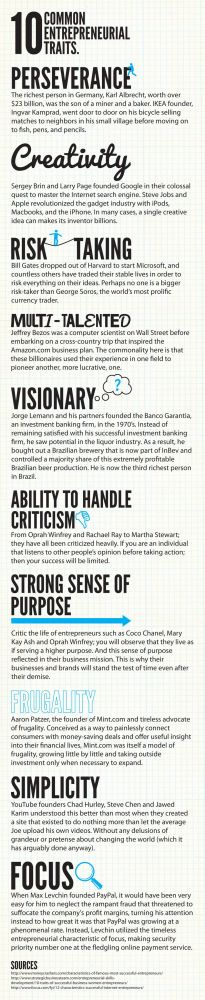 10 common entrepreneurial traits #infografia #infographic