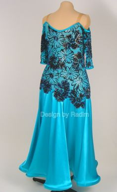 Jade Green Satin with Black Velvet Lace, Blue Zircon AB and Jett AB Crystals (Back)