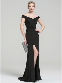 Sheath/Column Off-the-Shoulder Sweep Train Ruffle Split Front Zipper Up Cap Straps Sleeveless No Black Spring Summer Fall General Plus Jersey Height:5.7ft Bust:33in Waist:24in Hips:34in US 2 / UK 6 / EU 32 Evening Dress