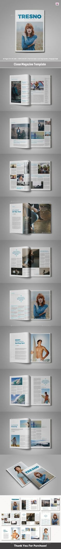 Clean Magazine Template #art #style  • Download here → https://graphicriver.net/item/clean-magazine-template/20845714?ref=pxcr