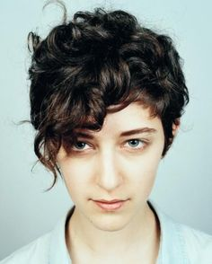 Short Curly Pixie Haircut with Curly Bangs