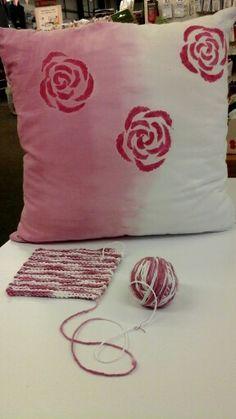 Dip Dyed Cushion & Cotton Yarn - Useful Hansons Hints on Dying http://www.hansonsfabrics.co.uk/fabric/dylon-fabric-dyes/hansons-hints-dying-fabric/