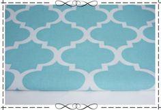 Stoff grafische Muster - Baumwollstoff hellblau-weiß, marokkanisches Gitter - ein Designerstück von Magdalena_Maiwald bei DaWanda