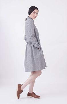 48785b5110c19 SIMPLEWEAR Collection by Nadinoo - Shirt Dress in Fine Gingham Cotton +  Linen blend Navy white check Loose Easy wear style with inseam pockets