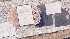 SAMPLE - Pink Floral Laser Cut Wedding Invitation