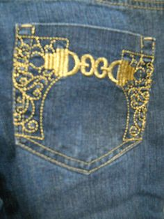 Aviva Size 9 Jeans Pants Gold Embroidery on Pockets Designer Good Used                                                                                                                                                      More