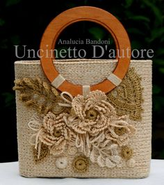Discussion on LiveInternet - Russian Service Online Diaries Bag Crochet, Freeform Crochet, Crochet Handbags, Crochet Purses, Irish Crochet, Crochet Stitches, Embroidery Bags, Bead Embroidery Jewelry, Burlap
