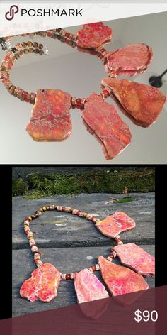 Authentic Jasper slabs necklace 925 Sterling Has STERLING SILVER clasp !! All made in natural Aqua Terra Jasper stones...Brand new handmade...... .... These is a beautiful sea sediment Aqua Terra Jasper beads in shades of red, orange and browns, Aqua TErra (meaning Water Earth) is a wonderful stone and believed to bring inner peace, clarity love and compassion!! You will love it.. Arawak Jewelry Jewelry Necklaces