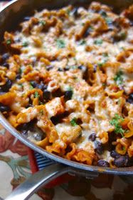 Plain Chicken: Spicy Chicken Enchilada Skillet : I used my own enchilada sauce, no cheese, rice noodles, and did not use heavy cream. Worked great!