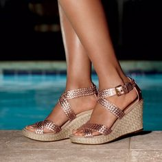 Rose Gold Straps, Wicker Wedge, Summer Ready compliments of Sperry