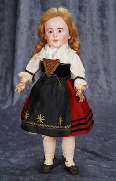 "French Bisque Character, 238, by SFBJ, with Original Alsatian Costume 18""  Bisque socket head, small brown glass ""jewel"" inset eyes,  wearing original folklore costume of Alsace.  Marks: SFBJ 238 Paris 6. SFBJ, circa 1912,"
