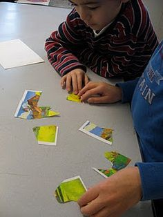 create puzzles with art notecards for kids to do if they get done early