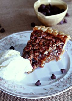 Chocolate Chip Pecan Pie- cracker Barrel copycat. Easy recipe made with premade crust, chopped pecans and semi-sweet chocolate chips.