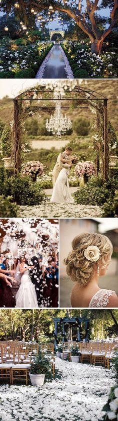 outdoor wedding ceremony DIY wedding ideas and tips. DIY wedding decor and flowers. Everything a DIY bride needs to have a fabulous wedding on a budget! Wedding Goals, Wedding Themes, Wedding Planning, Wedding Decorations, Aisle Decorations, Best Wedding Ideas, Whimsical Wedding Theme, Budget Wedding, Wedding Locations