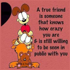 A true friend is someone that knows how crazy you are & is still willing to be seen in public with you.