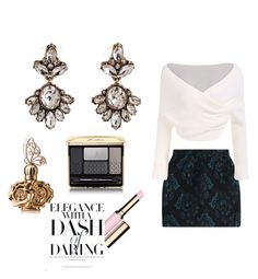 """Elegance look  #earrings from www.luzzaccessories.com"" by luzzaccessories on Polyvore featuring Roberto Cavalli, Guerlain, Anna Sui, Clarins, earrings and luzzaccessories"