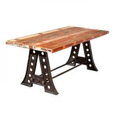#13 – Table industrielle bois massif manguier >> http://homelisty.com/table-industrielle