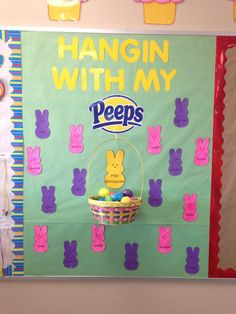 Bulletin Board Ideas Easter Bulletin Board, probably a month idea for the bulletin outside of the preschool. This is a cool idea for a bulletin board because it incorporates the holiday within that month, which kids will associate now with the holiday. Easter Bulletin Boards, Preschool Bulletin Boards, Classroom Bulletin Boards, Classroom Door, April Bulletin Board Ideas, Bullentin Boards, Classroom Birthday Board, Preschool Birthday Board, Seasonal Bulletin Boards