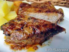 Friptura de porc la cuptor New Recipes, Cooking Recipes, Romanian Food, Romanian Recipes, Pork Loin, Bacon, Grilling, Deserts, Food And Drink