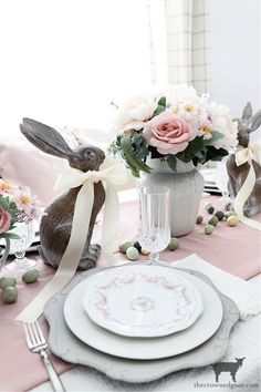 Easy Spring Tablescape Ideas - The Crowned Goat Spring Home Decor, Spring Crafts, Spring Desserts, Inspired Homes, Tablescapes, Goats, Craft Projects, Decorating Ideas, Easter