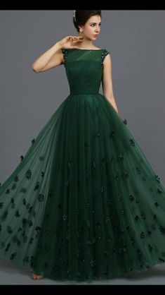 Indian Gowns Parties Dark Green Tulle Sheer A-line Evening Party Dresses Long Floor Length Cap Sleeves 2015 Elegant Prom Dress For Girls Green Evening Dress, A Line Evening Dress, Evening Dresses, Dinner Dresses, Elegant Prom Dresses, Pretty Dresses, Beautiful Dresses, Long Gown Dress, Cap Dress