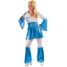 awesome  1970's ABBA Ladies 70's Fancy Dress Costume Mamma Mia Size 6-24 (Women: 18-20, Blue)