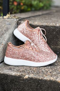 """Sparkling Personalities Sneakers, Rose Gold""These sneakers, like your personality, are so sparkly!"