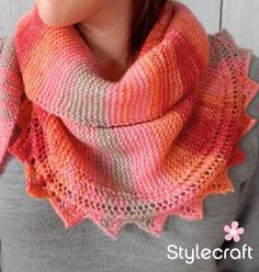 Free Knitting Pattern for Sawtooth Edge Crescent Shawl