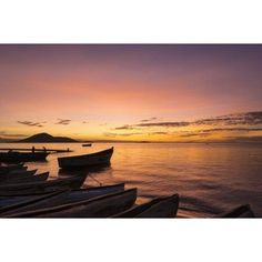 Fishing boats at dusk Cape Maclear Lake Malawi Malawi Canvas Art - Ian Cumming Design Pics (19 x 12)