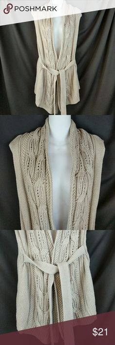 """New York & Co. Sleeveless Cardigan With Belt Sz L Classic look!! Knit sleeveless Cardigan with attached belt. With the front pulled together the chest is 40"""" around. The length from shoulder is 29"""". Clean, smoke free. Excellent condition. CT5 New York & Company Sweaters Cardigans"""