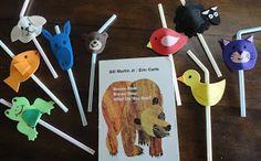 Brown Bear Brown Bear book activity- drinking straws