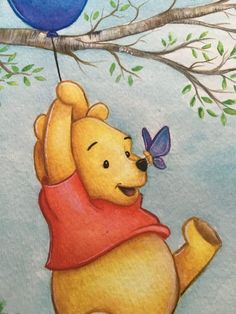 Prints of watercolor painting Winnie The Pooh Decor, Winnie The Pooh Drawing, Winnie The Pooh Pictures, Winnie The Pooh Nursery, Cute Winnie The Pooh, Winnie The Pooh Friends, Disney Canvas Paintings, Bear Paintings, Watercolor Paintings