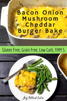 My Bacon Onion Mushroom Cheddar Burger Bake is basically one huge burger baked w/ the toppings right on top. It is fast, easy, low carb, grain free, & THM S. via @joyfilledeats