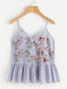 Cute Cami Floral and Striped Regular Fit V Neck and Spaghetti Strap Blue Blossom Embroidered Ruffle Cami Top Summer Outfits, Casual Outfits, Cute Outfits, Fashion Outfits, Womens Fashion, Fashion 2018, Cami Tops, Top Chic, Look Boho