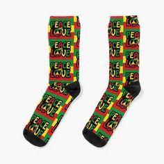 Rastafari Art, Flag Colors, Colorful Socks, Designer Socks, Reggae, Crew Socks, Peace And Love, Studio, Printed