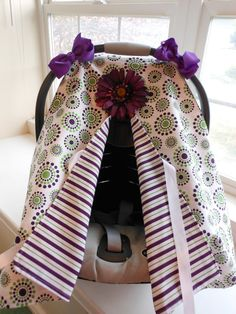 """Car seat canopy -- elastic back.  Split front vs. flip up.  Cute but might be a bit too """"fussy"""" for me."""
