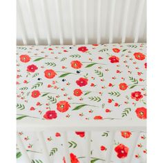 Summer Poppy Cotton Muslin Crib Sheet