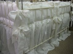1 Ruffled Crib Bedding in Vintage White Washed by cottageandcabin, $350.00