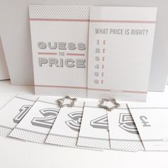 Blush Pink Guess The Price Game in packs of 8, 12, 16 or 20