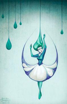 Raindrops  10x15 Fantasy Art Print Signed by Kecky on Etsy, $28.00