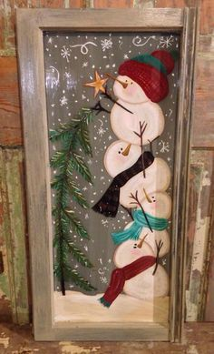 Snowmen painted on old window.                                                                                                                                                      More