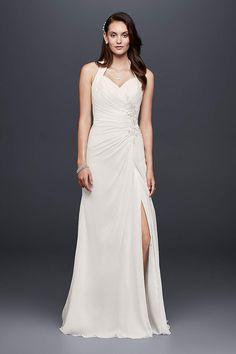 View Appliqued Chiffon Halter Sheath Wedding Dress OP1327