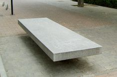 Contemporary public bench in stainless steel and engineered stone - CANET by Piere Raoux - Escofet
