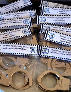 Police Birthday Party Favors - handcuffs