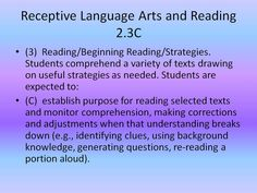 Receptive language arts and reading TEKS