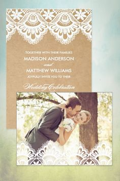 This one's a lace and burlap wedding invitation. You can get save the date or thank you cards, labels, stamps, and table numbers, too. (scroll down to #1 on the page). #MyOnlineWeddingHelp