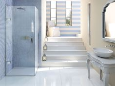 Matki EauZone Plus Hinged Door for Corner - luxury shower enclosure, set beautifully in nautical, beach scape style bathroom Bathroom Styling, Bathroom Interior Design, Bathrooms Direct, Glass Shower Doors, Shower Screens, Nautical Bathrooms, Safety Glass, Shower Floor, Shower Enclosure