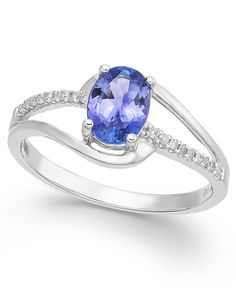 Tanzanite (1-1/4 ct. t.w.) and Diamond (1/8 ct. t.w.) Oval Ring in 14k White Gold - All Fine Jewelry - Jewelry & Watches - Macy's
