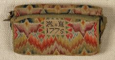 "Pennsylvania flame stitch purse, dated 1775, initialed AM, 4"" x 6 3/4"". 