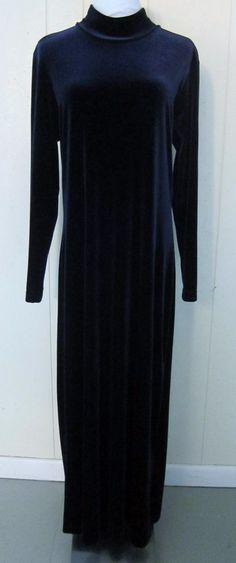 Blue Velvet Feel Stretch Full Length Maxi Low Turtleneck Long Sleeve Dress L  #Velvet #Maxi